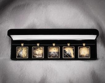 Collectible New York City Jewelry Collector's Set: Dan Burkholder's Wearable Art, Exclusive Set, 5 Memorable Pendants in 24K Gold, Palladium