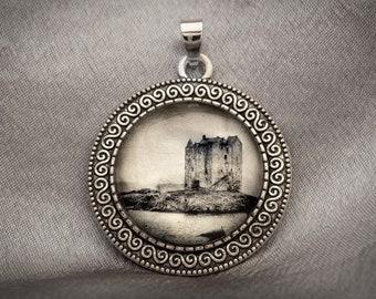 Celtic Photo Art Necklace, Castle Stalker, Scotland, White Gold Handmade Jewelry, Dan Burkholder Artisan Pendant, Unique Gift