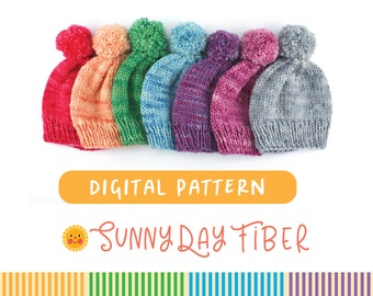 Classic Beanie Knit Hat Pattern in 5 sizes