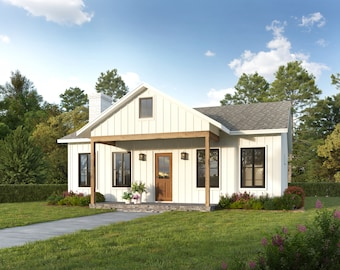 30' x 30' Small Cottage Architectural Plans - Custom 900SF House Blueprints