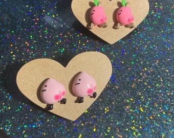 Cheeky cute heart sterling silver studs