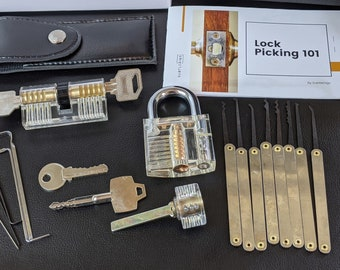 Beginner Lock Pick Set with Clear Locks and Bonus Lock Pick Guide | Gift for Teens | Gift for Men | Educational Gift Set | Lock Picking Tool