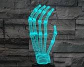 Hand bone 3D LED Lamp, Skeleton Hand 3D Lamp, Acrylic LED Lamp, Colorful Nightlight, Remote Lamp, Home Decor, Halloween Decoration, Gifts.