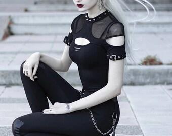 90s Black Velvet And Mesh Combo Top Hooded Goth Top Black Velvet Blouse Sheer Sleeve Gothic Top Dark Style Top Sheer Hooded Stretchy Velvet