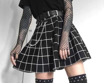 Women's Goth Skirt, Gothic Skirt, Grunge Skirt, High Waist Black Skirt, Harajuku Skirt, Punk Skirt, A Line Plaid Pleated Skirt, Grunge Skirt