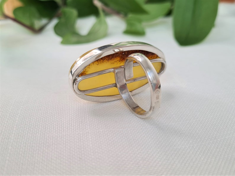 Huge amber ring sterling silver adjustable ring unique natural baltic amber
