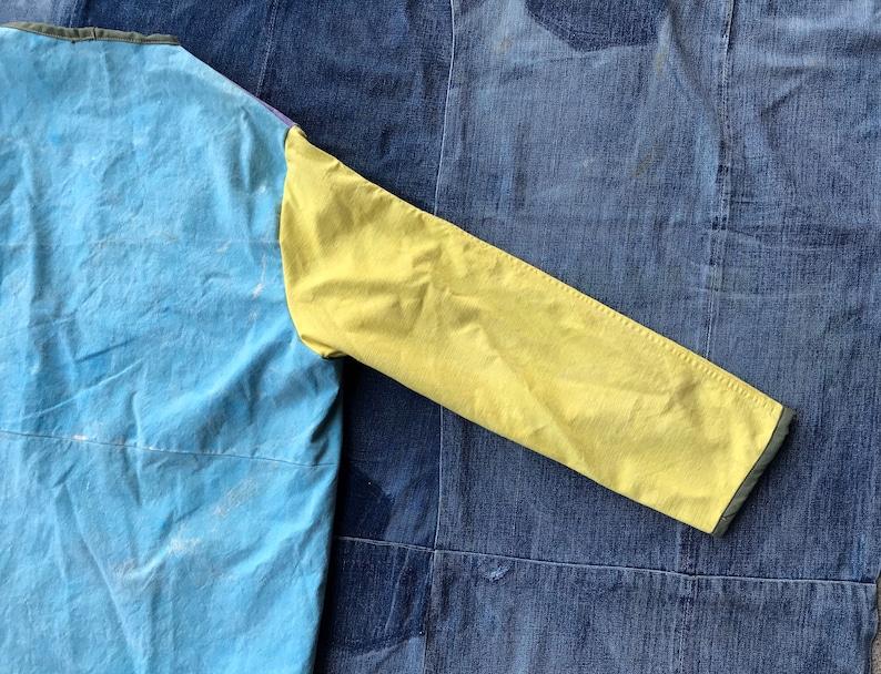 Hand Painted Jacket  Vintage Patchwork Coat  Canvas Chore Coat  Ooak Jacket  Scofield Tacoma