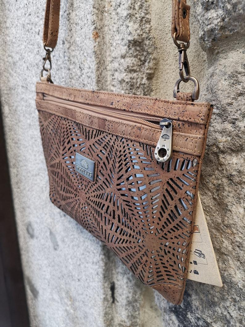 Cork crossbody bag net pattern laser cut Vegan -HandMade in Portugal Woman