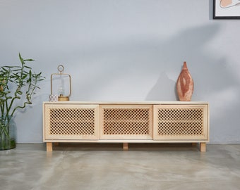 Wooden Lattice TV Console, TV Stand, Media Console, Credenza, Shelves and Sliding Doors