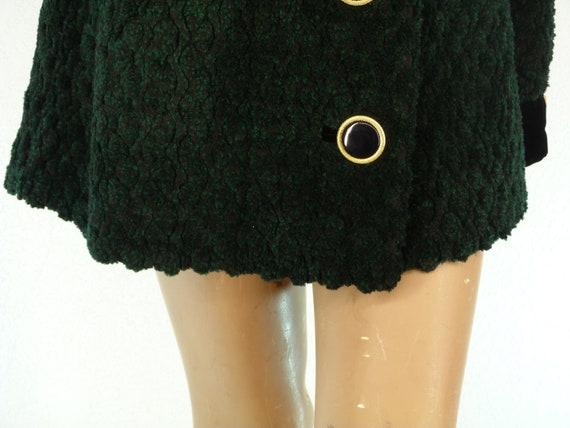 vintage green coat and black velvet 80s gold butto