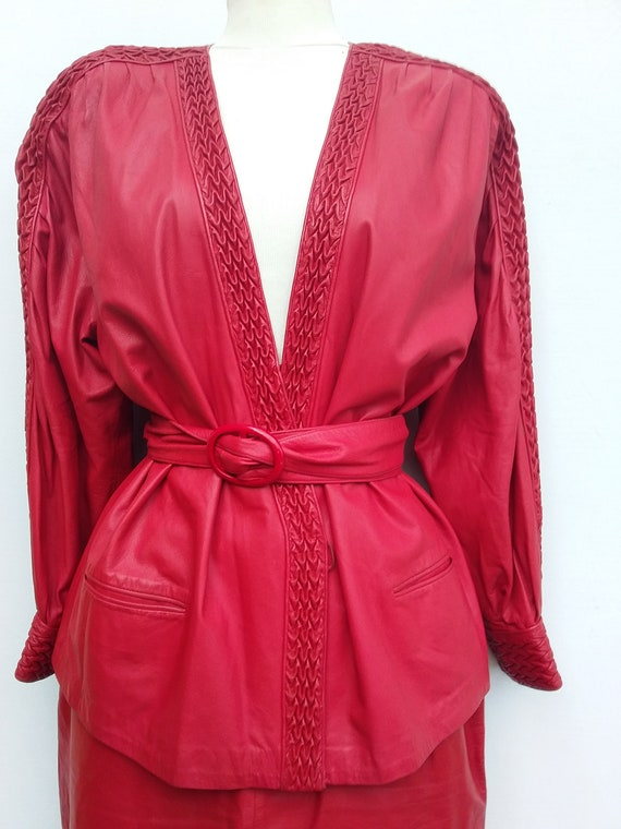 Beltrami Italy red leather suit, skirt, jacket, be