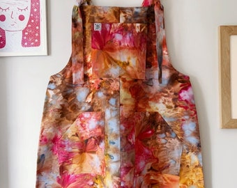 XXL / UK16 Pinafore Pinny in 'Cinnamon Stick', hand dyed, cotton twill, adult, ice / tie dye
