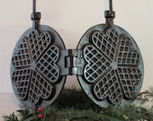 Vintage French Cast Iron Heart Shaped Waffle Maker with Long Handles, Gaufrier, Pancake Mold, Fireplace Decor