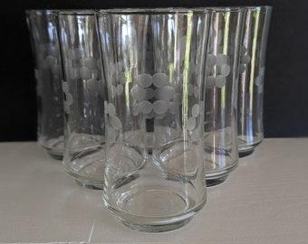 Vintage MCM Smokey grey tumblers with etched flower design retro set of 6 Smokey grey glasses with etched orchid design MCM tumblers