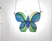 Butterfly stained glass suncatcher, Blue and Green opalescent