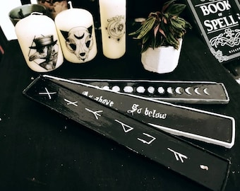 Wiccan incense holder, moon phase incense holder, rune incense holder, gothic incense holder, wiccan tool