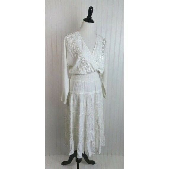 Vintage Carole Little Boho Chic White Embroidered