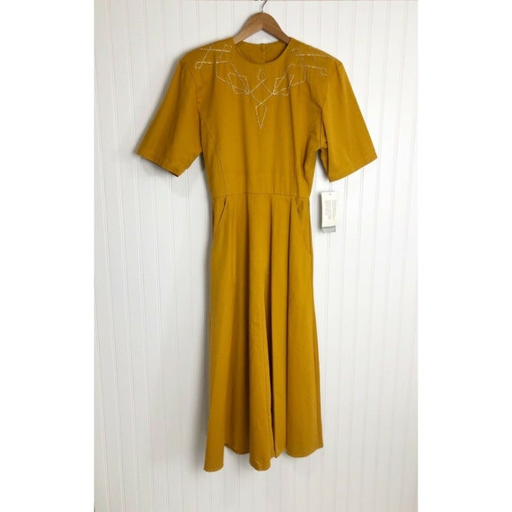 NWT Vintage PG Collections Mustard Yellow Dress Po