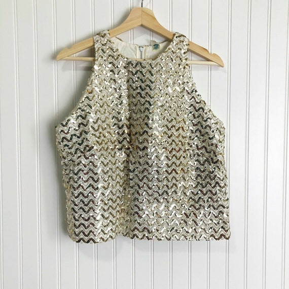 Vintage Union Made Gold Sequin Sleeveless Top Size