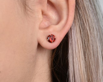 Natural Garnet Studs Earring Red Earrings 925 Silver Stud Earrings Statement Studs Christmas Gift Gemstone Earring Red Garnet Studs