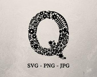 Flower Alphabet Svg, Floral Letter Q Svg, Letter cut file, Single Letter Svg, Alphabet cut file, Flowery Letters, Cricut or Silhouette