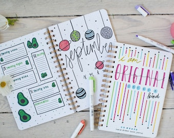 The Plournal™ (planner + journal), 12 month hand-drawn bullet journal- Created during COVID-19. Perfect Back to school. FREE SHIP order Now!