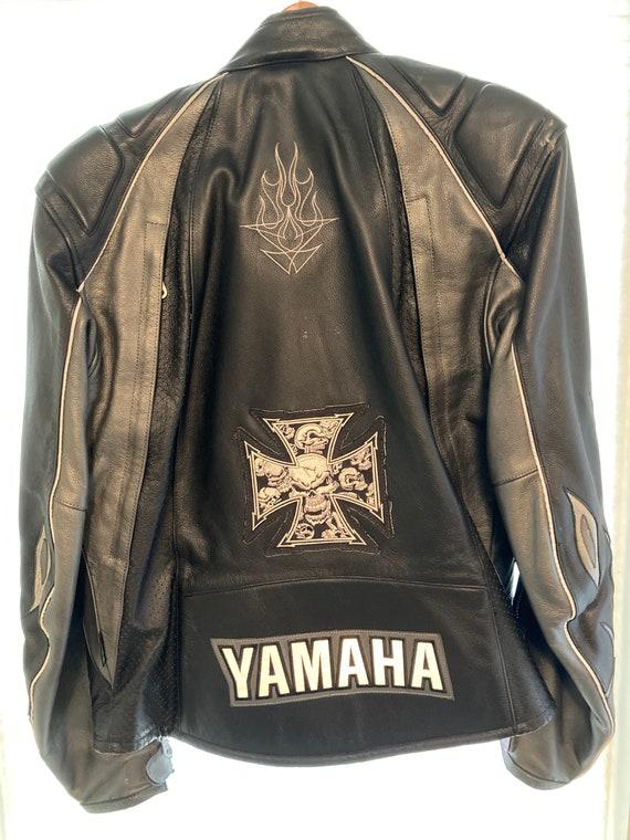 YAMAHA factory leather motorcycle jacket with flam