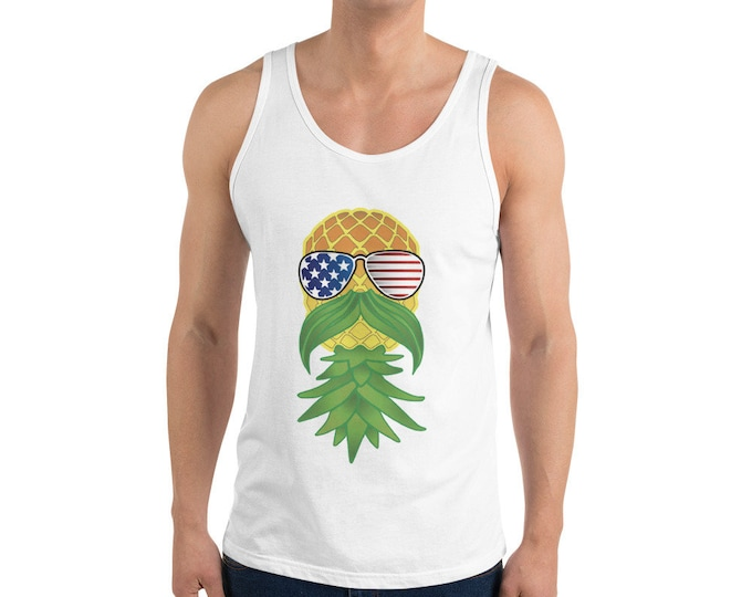 Featured listing image: Porn Stache Pineapple Unisex Tank Top