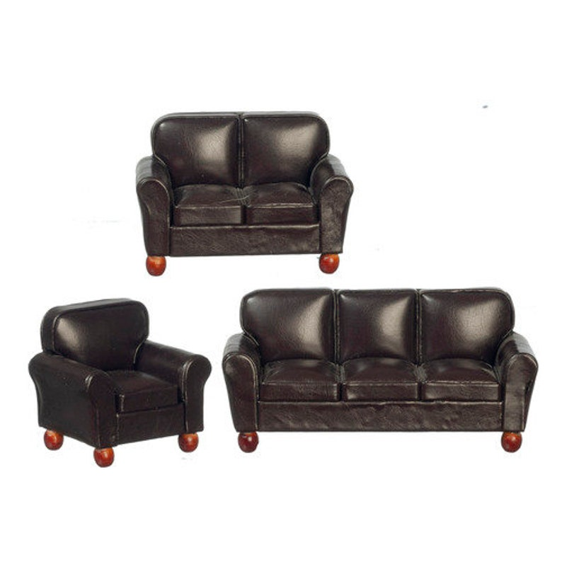1:12 Scale Brown leather living room set Dollhouse miniature furniture T2009