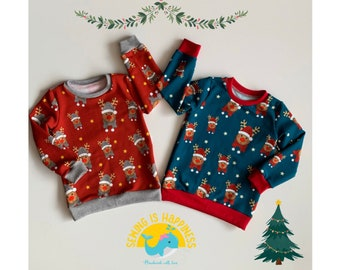 Christmas sweater for baby children boys and girls   unisex   French Terry   Red and Petrol   from gr. 74 to gr. 140   Christmas presents