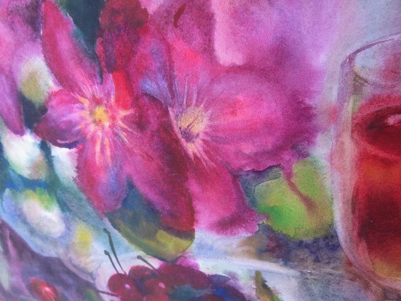 Azalea Cherry Original Watercolor Painting Flower Art Home Decor by Maria Ros