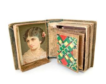 late victorian miniature velvet trinket book box / vintage keepsake box / 19th century sewing box