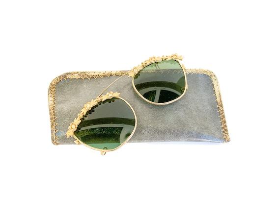 vintage gold tone and rhinestone clip on sunglasse