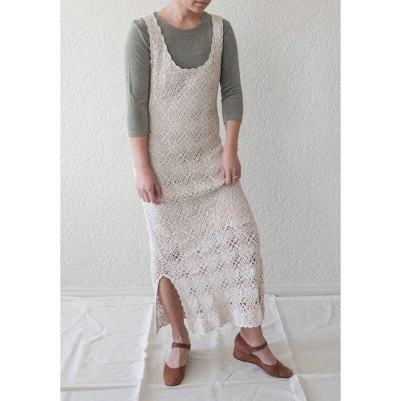 Crochet Maxi Tank dress / minimal vintage / boho