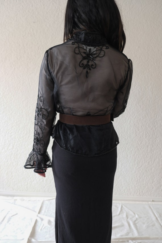 Vintage sequined and beaded sheer jacket - image 8