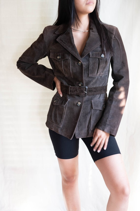 Vintage Belted Chocolate Suede Leather Jacket