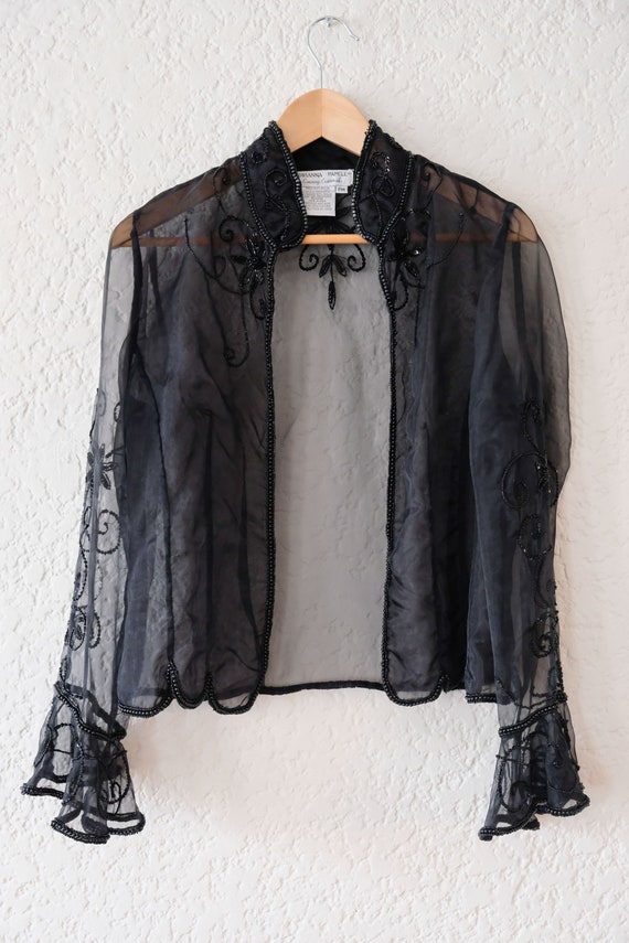 Vintage sequined and beaded sheer jacket - image 9