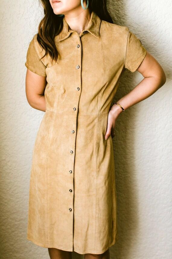 Suede Babydoll dress / minimal vintage / boho