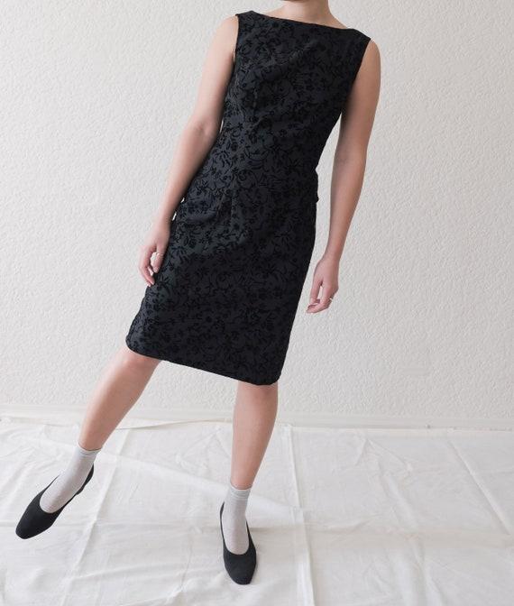 Little Black Floral Tank Dress / minimal vintage /