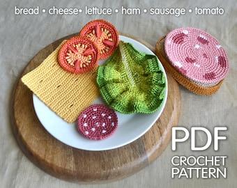Sandwich Crochet Pattern - Play Food Pattern - Play pretend food - Amigurumi Food Pattern