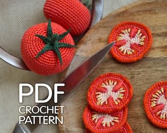 Tomato crochet pattern - Tomato slices PDF pattern