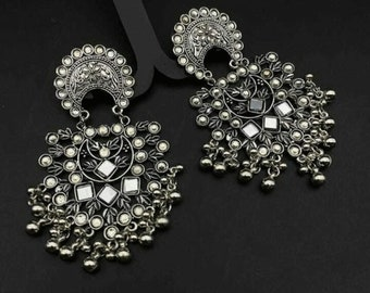 Afghani earrings Silver Flower Earrings indian jhumki German silver jewelry Mirror Flower Earrings boho jewelry Indian earrings