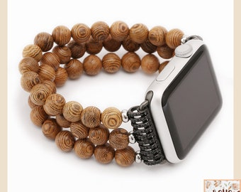 Apple Watch Gypsy Band | Leather & Bead watch band | I watch Strap | Zen strap | Boho Vintage Gift