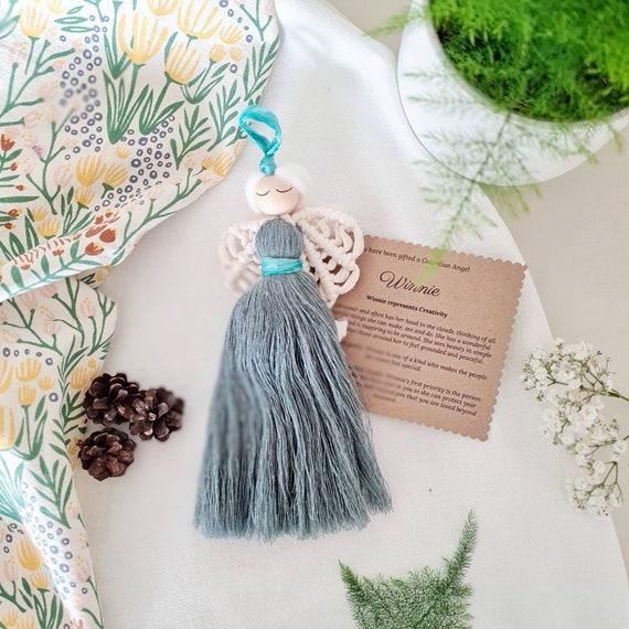 Creativity themed macrame guardian angel |  Personalised gift | Green macrame doll | Angel home accessory | Nursery & children bedroom decor