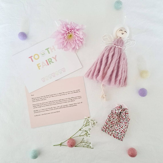 Tooth Fairy with Liberty of London coin bag and personalised message | Pink Tooth Fairy doll | Children's bedroom decor | Gifts for children