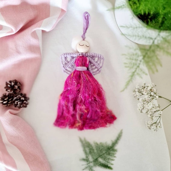 Pink macrame angel | Colourful angel | Colourful home accessories | Pink angel home accessories | Nursery & children's bedroom