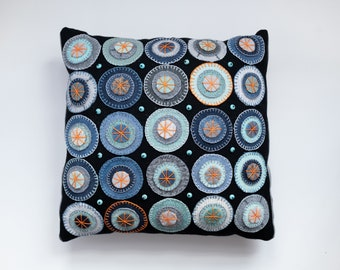 Penny Rug Pillow Jane Pollak Blue Skies