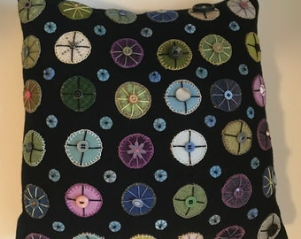 Penny Rug Pillow by Jane Pollak - Blue Blue Pennies