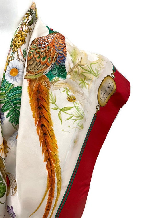 Authentic GUCCI Floral Scarf, Gucci Made in Italy… - image 6