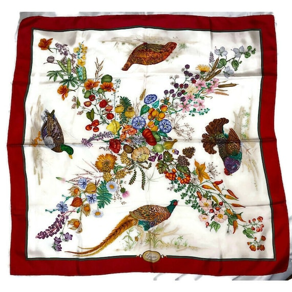 Authentic GUCCI Floral Scarf, Gucci Made in Italy… - image 2